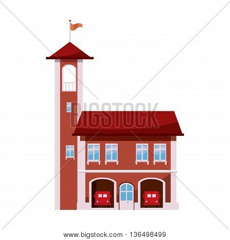 Fire station with tower icon in cartoon style on a white background