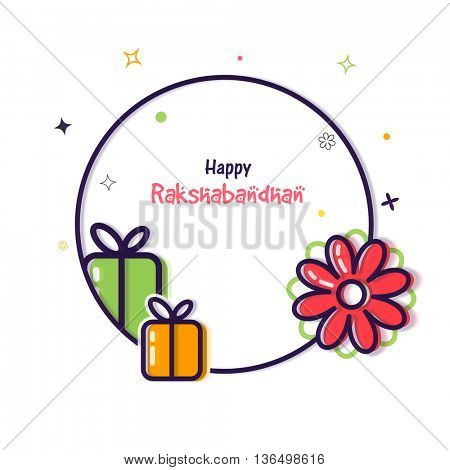 Elegant Greeting Card design with wrapped gifts and beautiful flower decoration for Indian Festival of Brothers and Sisters, Happy Raksha Bandhan celebration.