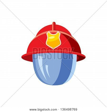 Helmet for a firefighter with mask icon in cartoon style on a white background