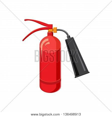 Fire extinguisher icon in cartoon style on a white background