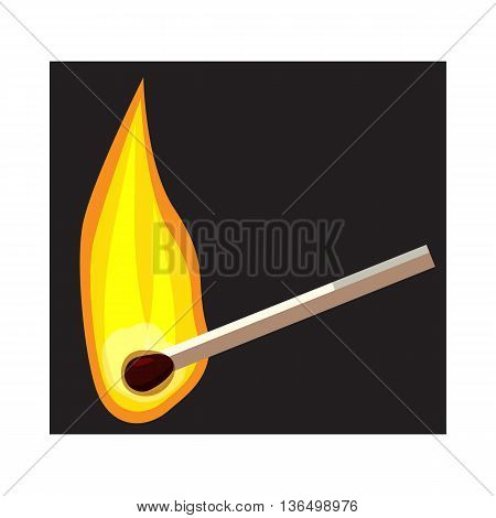 Burning match icon in cartoon style on a white background
