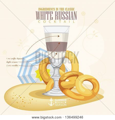 Vector illustration of popular alcoholic cocktail. White Russian club alcohol shot.