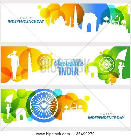 Creative Website Header or Banner set, Illustration of Famous Monuments and Saluting Soldier of Incredible India, Flag Colour Circles and Ashoka Wheel for Independence Day.