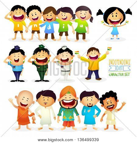Cute Characters as Kids wearing t-shirts making word India, Different Religion People showing