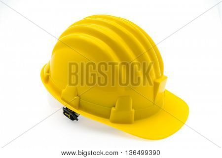 Yellow Hard Plastic Construction Helmet On White Background
