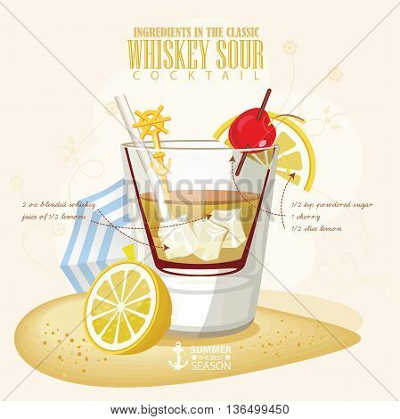 Vector illustration of popular alcoholic cocktail. Whiskey sour club alcohol shot.