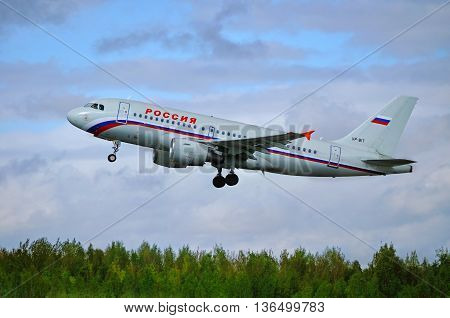 ST PETERSBURG RUSSIA - MAY 11 2016. VP-BIT Rossiya Airbus A319 airplane. Airplane is flying after departure from airport.