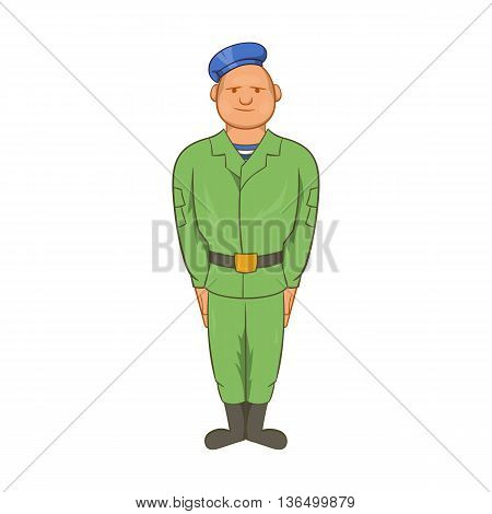 Man in green army uniform and blue beret icon in cartoon style on a white background
