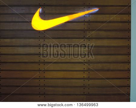 PENANG, MALAYSIA- 30 May, 2016:Nike signage at Penang, Malaysia. Nike, Inc. is an American multinational corporation that designs, develops, manufactures and sells footwear and other items