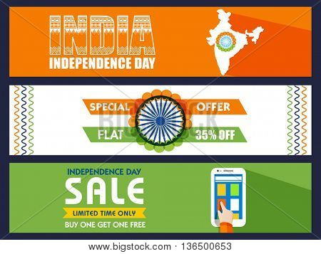 Website Header or Banner set, Independence Day Sale, Special Offer Sale, Flat 35% Off for limited time, Creative Sale Typographical Background, for Indian National Festival celebration.
