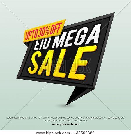 Eid Mega Sale with 30% Off, Mega Sale Paper Tag, Sale Paper Banner, Sale Poster, Sale Flyer, Sale Ribbon, Creative vector illustration for Muslim Community Famous Festival celebration.