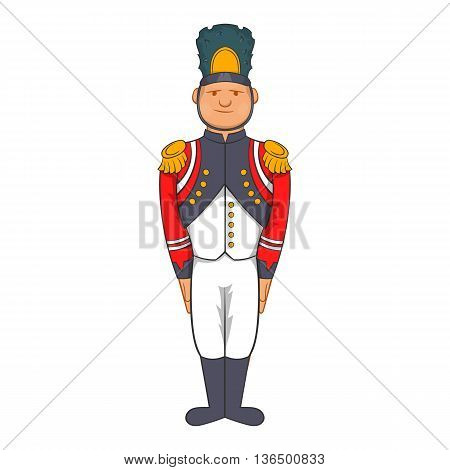 French Army soldier in uniform icon in cartoon style on a white background