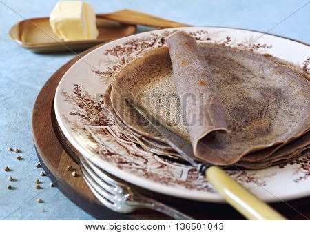Cuisine French regions: breton buckwheat crepes and cup of coffee