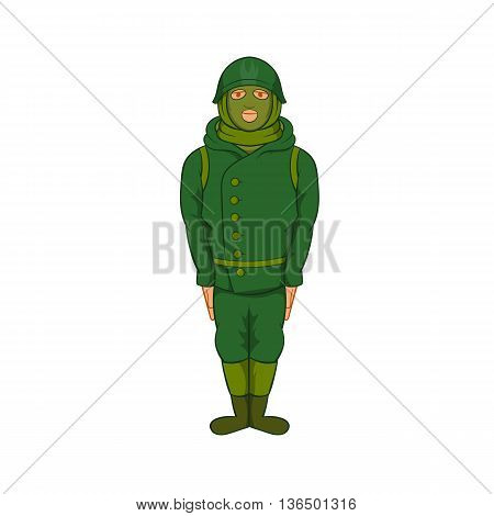 Green military camouflage uniform icon in cartoon style on a white background