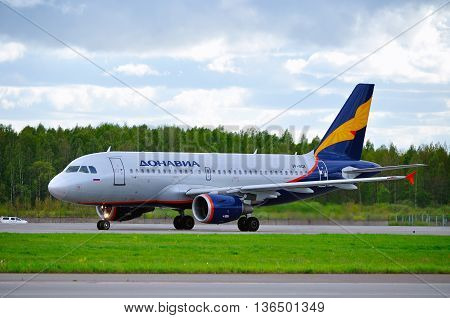 ST PETERSBURG RUSSIA-MAY 11 2016. VP-BQK Donavia Airbus A319-111 airplane is riding on the runway after landing in Pulkovo airport.