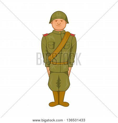 Soviet uniform of World War II icon in cartoon style on a white background