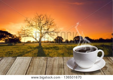 Cup Of Coffee With Mountain At Old Oak In Sunset With Sun