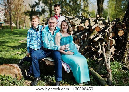 Happy pregnant family with two sons dressed in a turquoise clothes sitting on a stump at park