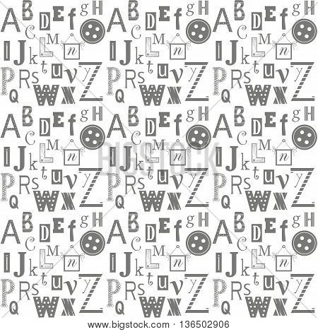 Background design. Alphabet letters background for anything You want. Black-and-white alphabet letters on the white background.