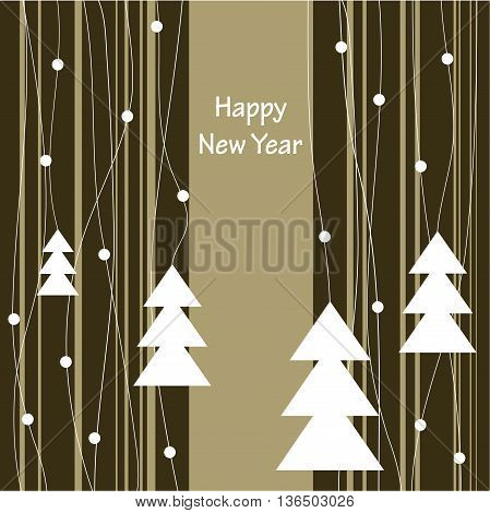 Cover design for the greeting card.Composition of the four Christmas Trees on the striped background and the phrase 'Happy New Year' on the beige background.