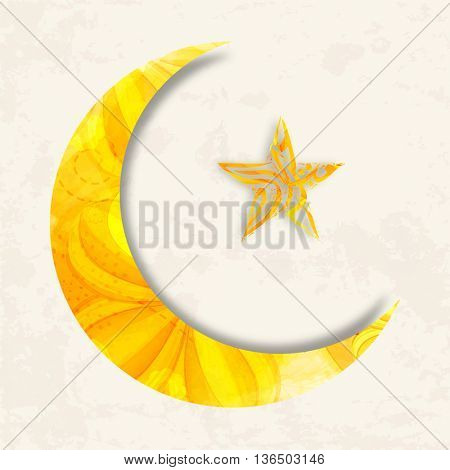 Beautiful Big Crescent Moon and Star with Arabic Islamic Calligraphy of text Eid Mubarak for Muslim Community Holy Festival celebration.