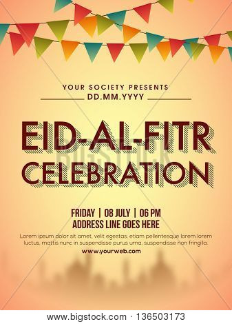 Eid-Al-Fitr celebration Invitation Card design decorated with colourful buntings and mosque silhouette, Can be used as poster, banner or flyer for Muslim Community Holy Festival celebration.