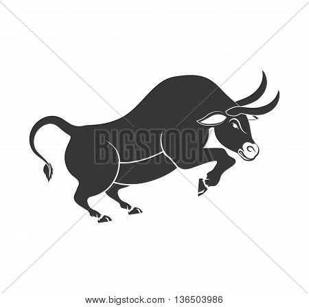 Animal concept represented by bull cartoon icon. isolated and flat illustration