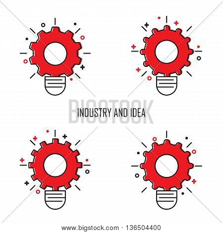 Creative Light Bulb and Gear Icon concept background.Design for posterflyercoverbrochure.Business and Industrial Idea abstract background.Vector illustration