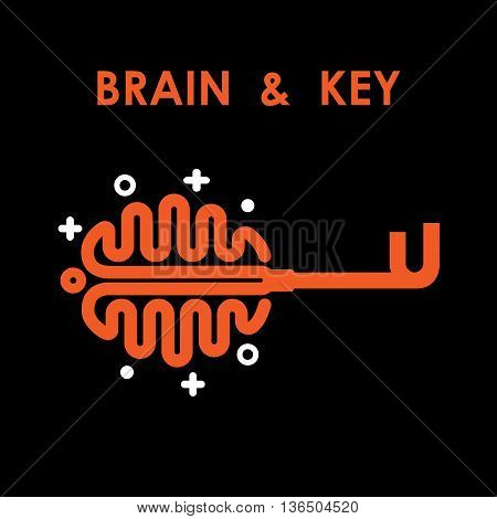Creative brain sign with key symbol. Key of success.Concept of ideas inspiration innovation invention effective thinking and knowledge. Business and education idea concept. Vector illustration.