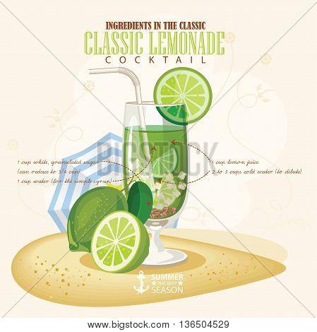 Vector illustration of popular alcoholic cocktail. Classic Lemonade club alcohol shot.