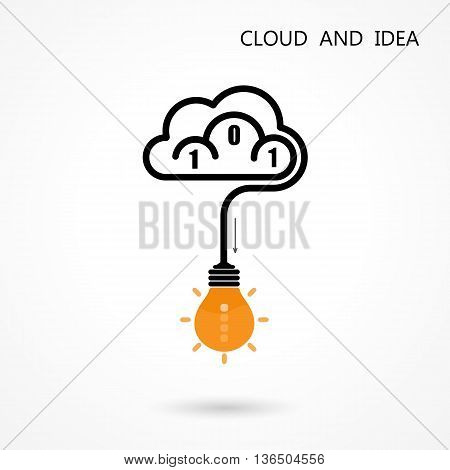 Light Bulb Idea Icon and Cloud Logo Vector Design Template.Computer and data transfer symbol. BusinessEducation and Technology concept.Vector illustration