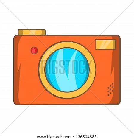 Retro photo camera icon in cartoon style on a white background
