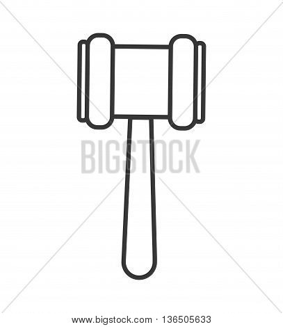 Law and Justice concept represented by hammer icon. isolated and flat illustration