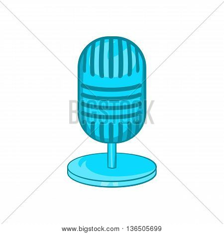 Retro microphone icon in cartoon style on a white background