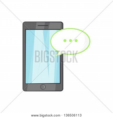 Smartphone with speech bubble icon in cartoon style on a white background