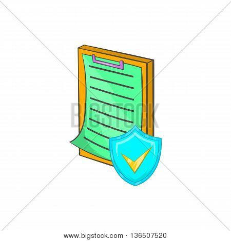 Clipboard with insurance form icon in cartoon style on a white background