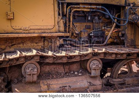 Rusted Dirt Covered Industrial Machine