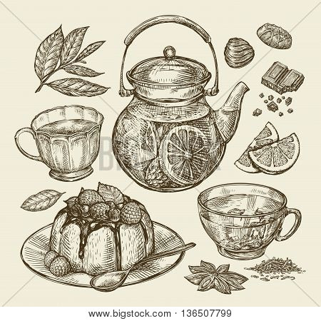 Food, dessert, drinks. Hand-drawn teapot, tea, coffee, cup pie pasty cake Sketch vector illustration