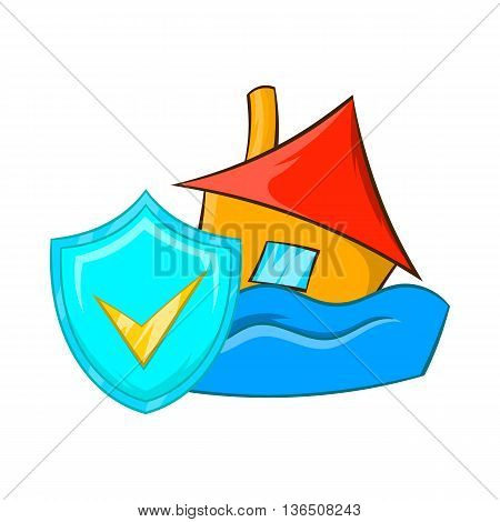 Flood insurance icon in cartoon style on a white background