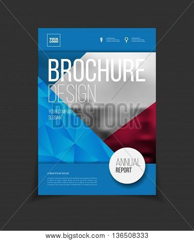 Annual report vector illustration. Brochure with text. A4 size corporate business brochure cover. Business presentation with photo and geometric graphic elements. Magazine template for cover. Flyer or poster for party.