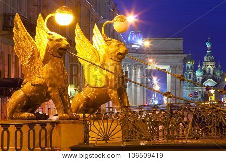 St. Petersburg, Russia. Night city. Bankovsky Bridge. White night.