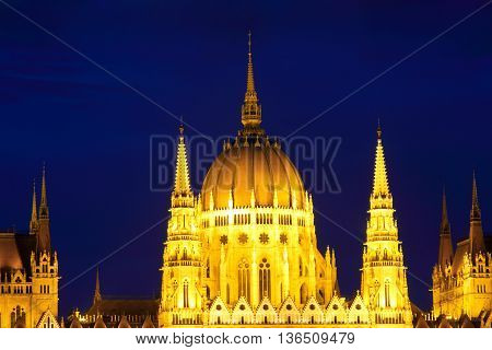 Budapest. Hungary. Parliament. Night city.Landmark in  European city.