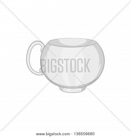 White tea cup icon in cartoon style on a white background