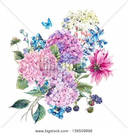 Summer Watercolor Vintage Floral Greeting Card with Blooming Hydrangea and garden flowers, Watercolor botanical natural hydrangea Illustration isolated on white