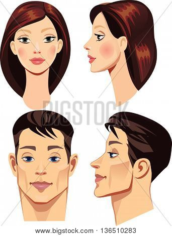 faces of brunettes men and woman in straight and profile