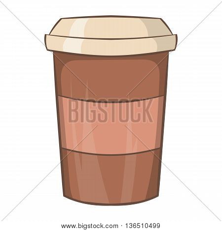 Paper cup of coffee icon in cartoon style on a white background
