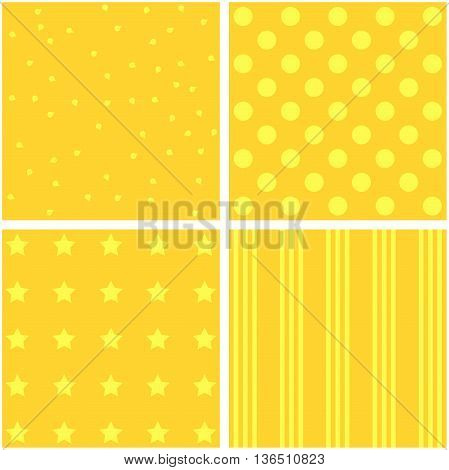 vector set of four different yellow pattern