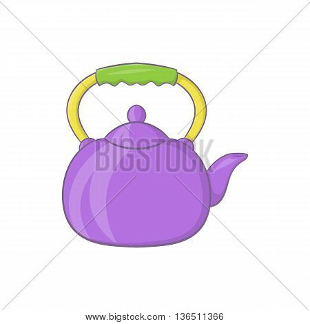 Violet teapot icon in cartoon style on a white background