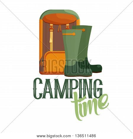 Camping time logo. Travel outdoor and adventure summer, vector illustration