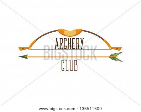 Archery club logo. Sport emblem with weapon, shooting vector illustration